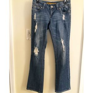 Low Rise Ripped Distressed Bootcut Med Wash Jeans
